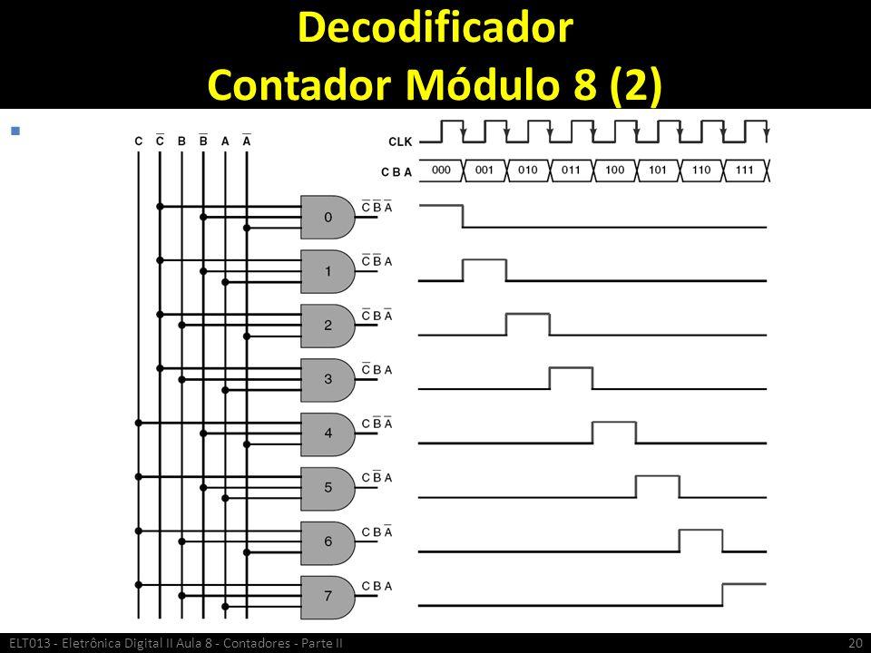 Decodificador Contador Módulo 8 (2) ELT013 - Eletrônica Digital II Aula 8 - Contadores - Parte II20