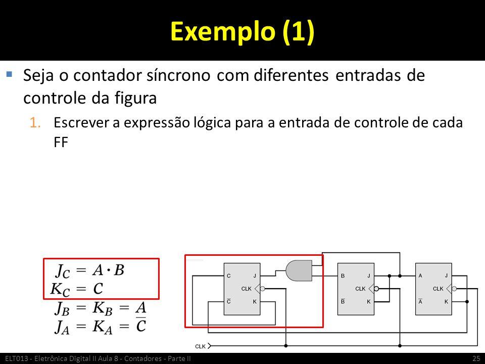 Exemplo (1)  Seja o contador síncrono com diferentes entradas de controle da figura 1.Escrever a expressão lógica para a entrada de controle de cada