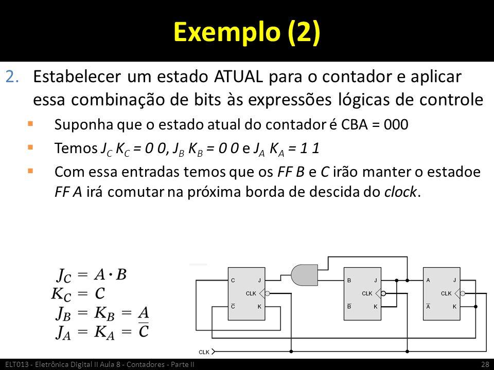 Exemplo (2) 2.Estabelecer um estado ATUAL para o contador e aplicar essa combinação de bits às expressões lógicas de controle  Suponha que o estado a