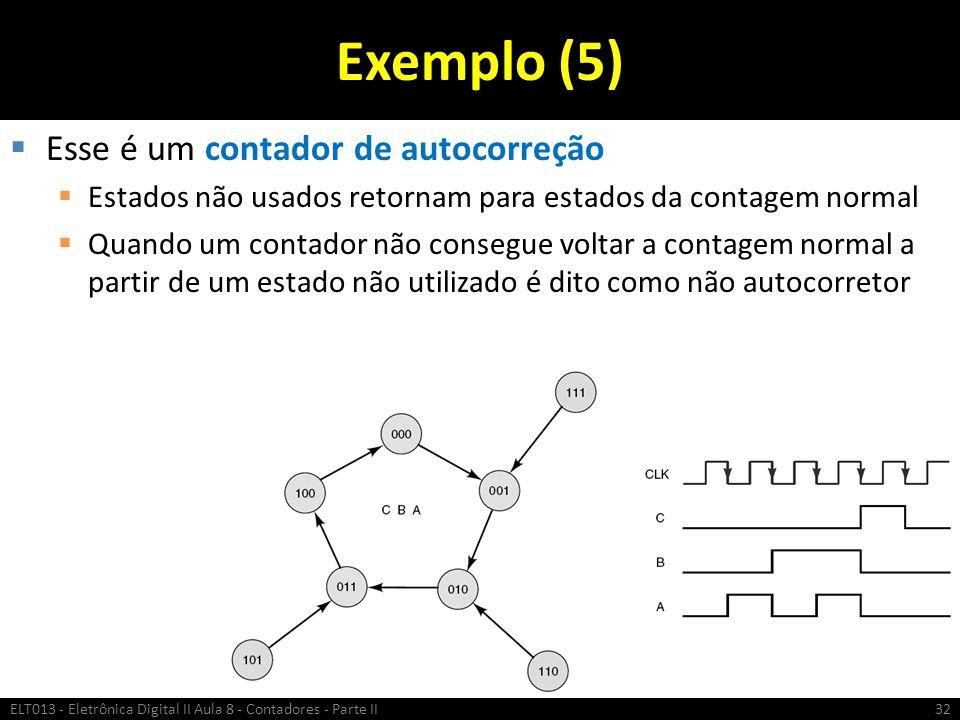 Exemplo (5)  Esse é um contador de autocorreção  Estados não usados retornam para estados da contagem normal  Quando um contador não consegue volta