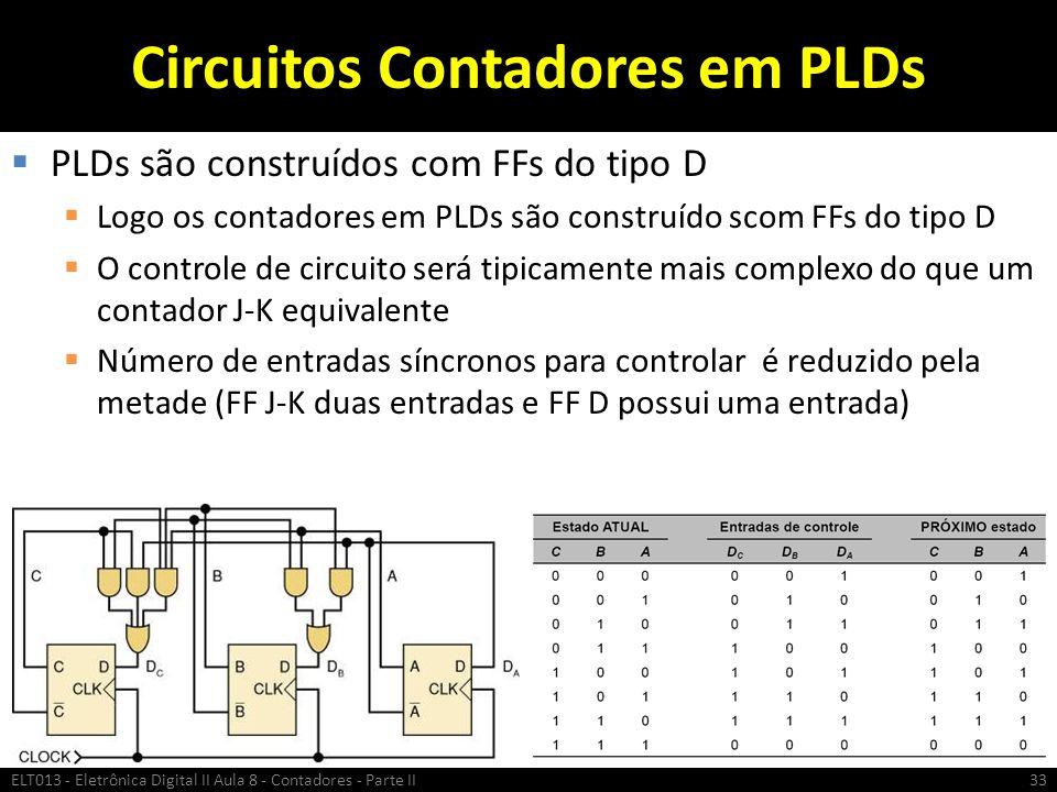Circuitos Contadores em PLDs  PLDs são construídos com FFs do tipo D  Logo os contadores em PLDs são construído scom FFs do tipo D  O controle de c