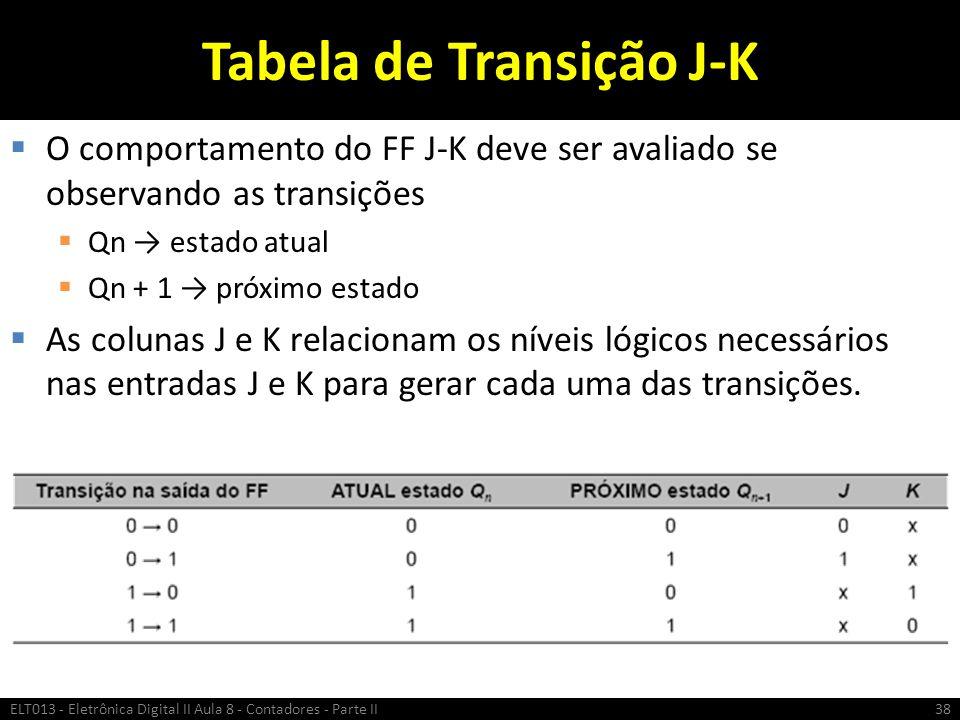 Tabela de Transição J-K  O comportamento do FF J-K deve ser avaliado se observando as transições  Qn → estado atual  Qn + 1 → próximo estado  As c