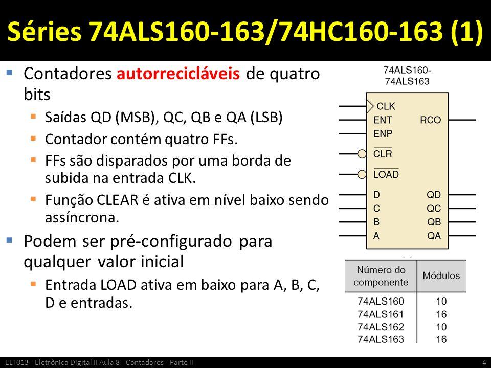 Séries 74ALS160-163/74HC160-163 (1)  Contadores autorrecicláveis de quatro bits  Saídas QD (MSB), QC, QB e QA (LSB)  Contador contém quatro FFs. 