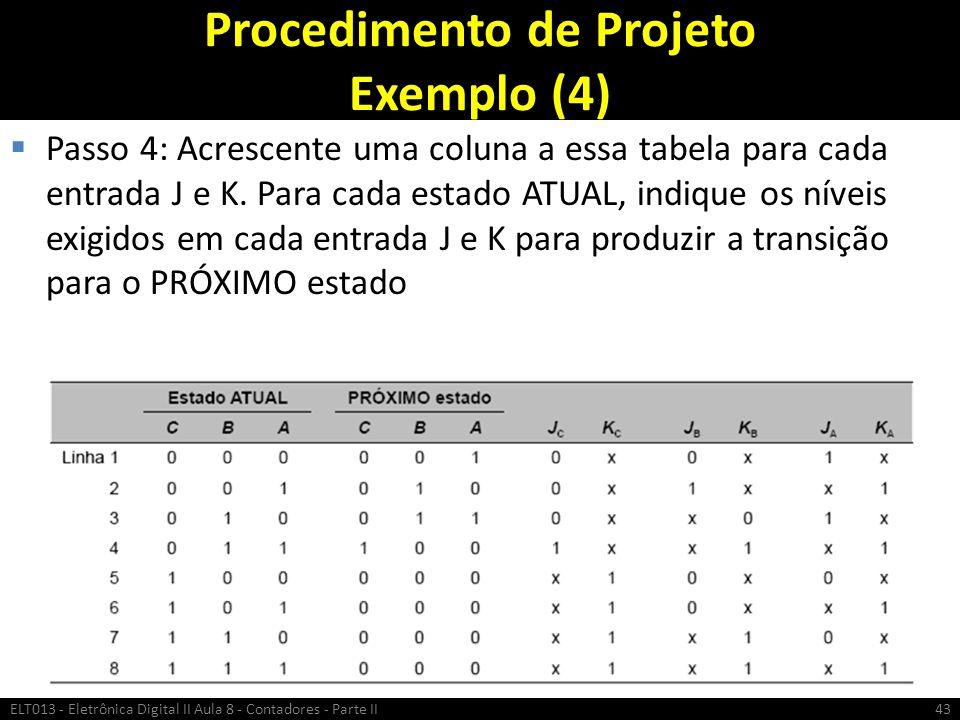 Procedimento de Projeto Exemplo (4)  Passo 4: Acrescente uma coluna a essa tabela para cada entrada J e K. Para cada estado ATUAL, indique os níveis