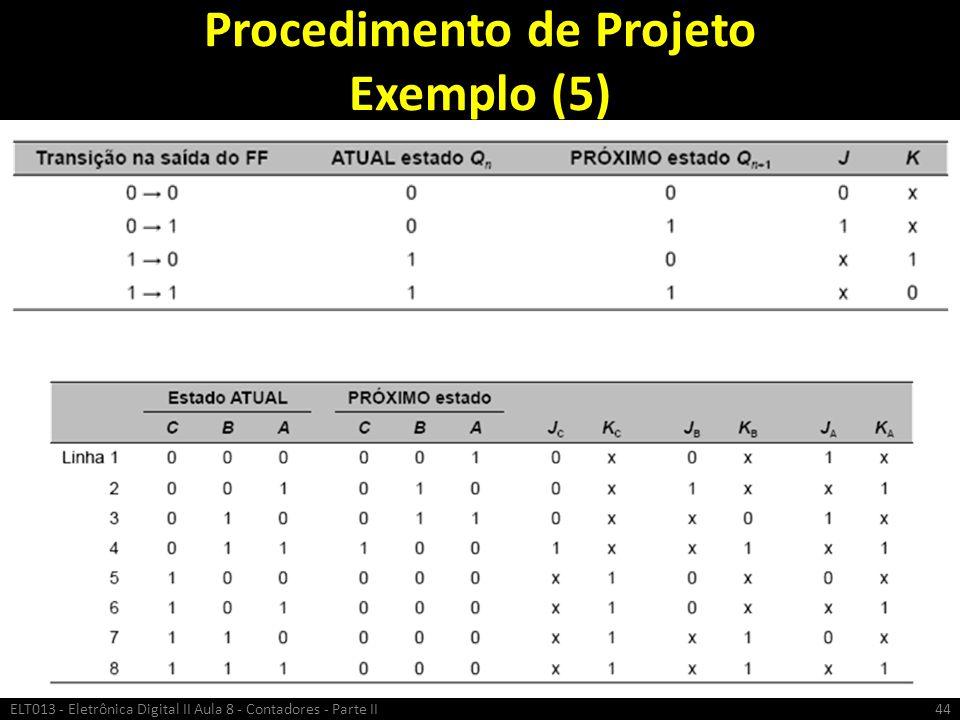 Procedimento de Projeto Exemplo (5) ELT013 - Eletrônica Digital II Aula 8 - Contadores - Parte II44