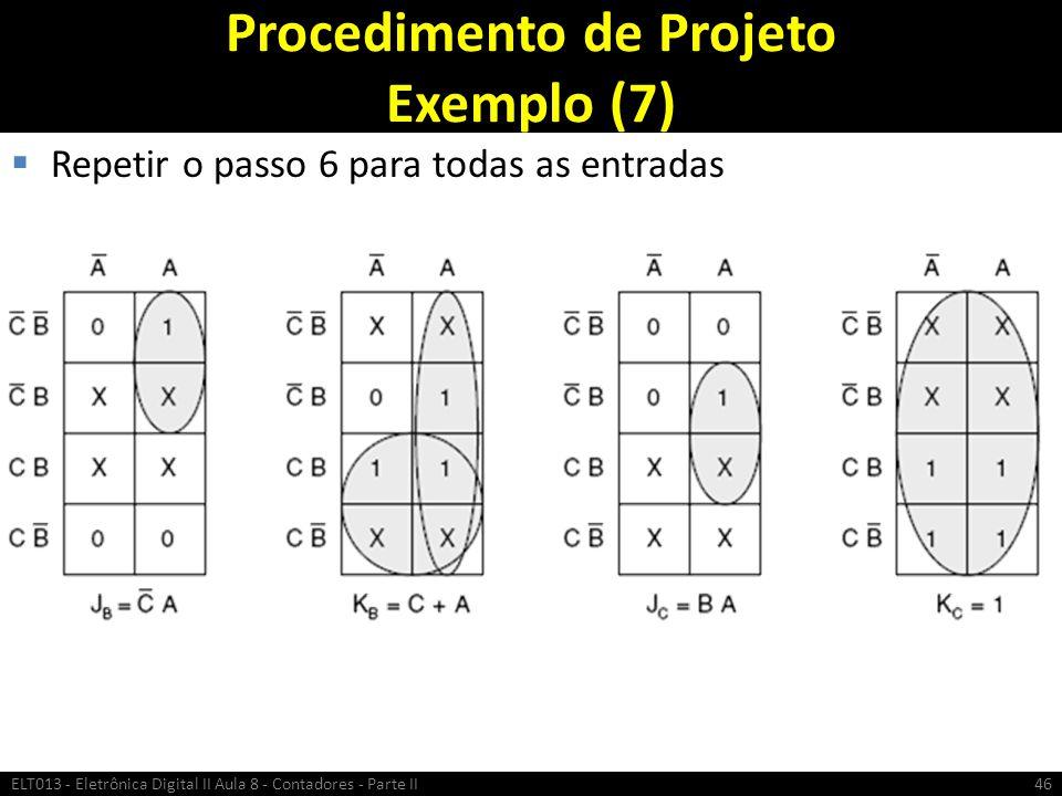 Procedimento de Projeto Exemplo (7)  Repetir o passo 6 para todas as entradas ELT013 - Eletrônica Digital II Aula 8 - Contadores - Parte II46