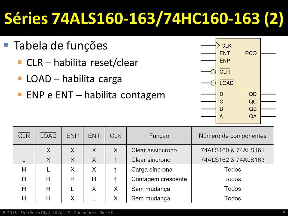 Séries 74ALS160-163/74HC160-163 (2)  Tabela de funções  CLR – habilita reset/clear  LOAD – habilita carga  ENP e ENT – habilita contagem ELT013 -