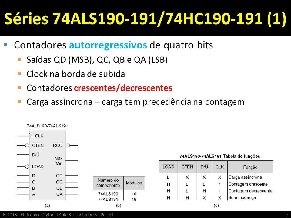 Séries 74ALS190-191/74HC190-191 (1)  Contadores autorregressivos de quatro bits  Saídas QD (MSB), QC, QB e QA (LSB)  Clock na borda de subida  Con