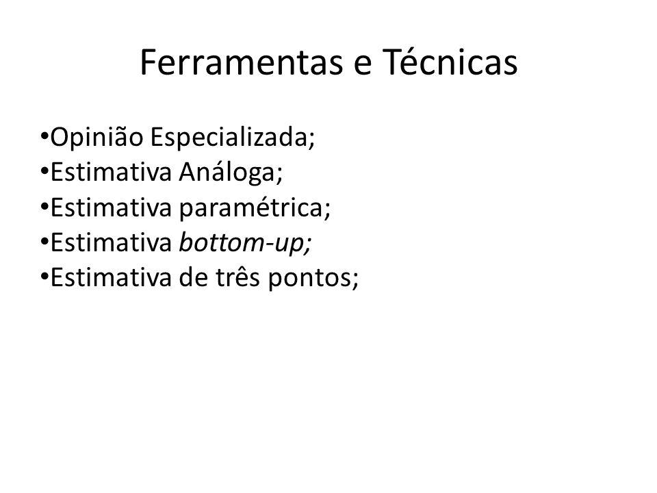 Ferramentas e Técnicas Opinião Especializada; Estimativa Análoga; Estimativa paramétrica; Estimativa bottom-up; Estimativa de três pontos;
