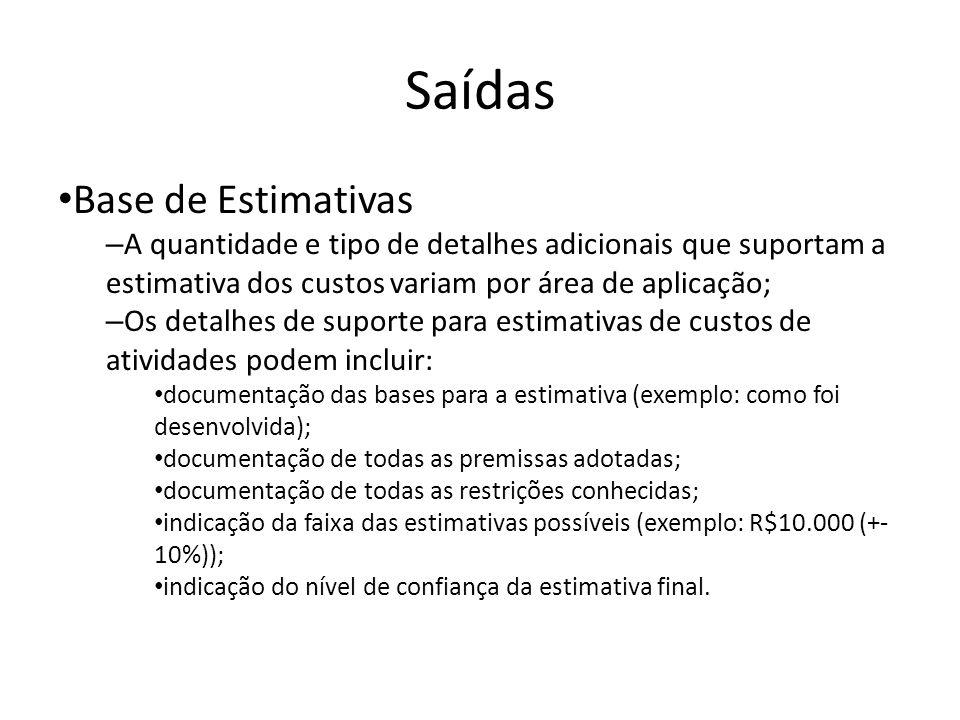 Saídas Base de Estimativas – A quantidade e tipo de detalhes adicionais que suportam a estimativa dos custos variam por área de aplicação; – Os detalhes de suporte para estimativas de custos de atividades podem incluir: documentação das bases para a estimativa (exemplo: como foi desenvolvida); documentação de todas as premissas adotadas; documentação de todas as restrições conhecidas; indicação da faixa das estimativas possíveis (exemplo: R$10.000 (+- 10%)); indicação do nível de confiança da estimativa final.