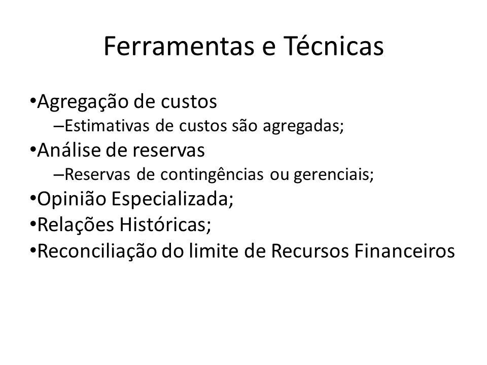 Ferramentas e Técnicas Agregação de custos – Estimativas de custos são agregadas; Análise de reservas – Reservas de contingências ou gerenciais; Opinião Especializada; Relações Históricas; Reconciliação do limite de Recursos Financeiros
