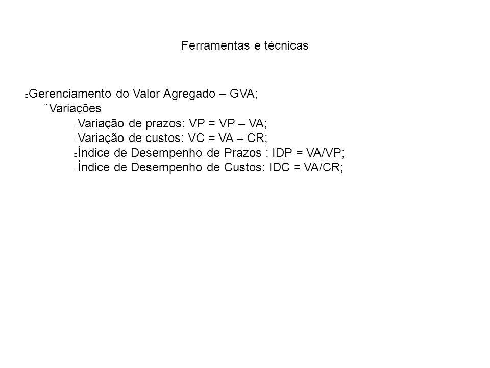 Ferramentas e técnicas Gerenciamento do Valor Agregado – GVA;  Variações Variação de prazos: VP = VP – VA; Variação de custos: VC = VA – CR; Índice de Desempenho de Prazos : IDP = VA/VP; Índice de Desempenho de Custos: IDC = VA/CR;