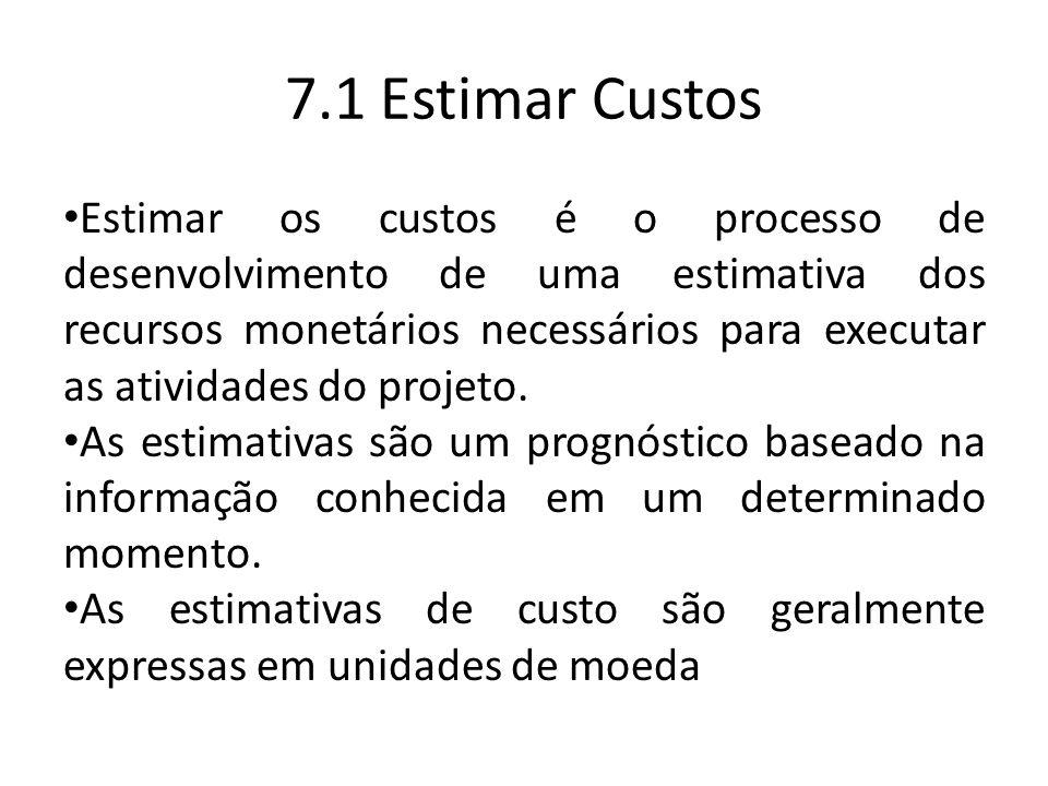 Estimar os custos é o processo de desenvolvimento de uma estimativa dos recursos monetários necessários para executar as atividades do projeto.
