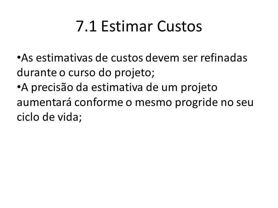 7.1 Estimar Custos As estimativas de custos devem ser refinadas durante o curso do projeto; A precisão da estimativa de um projeto aumentará conforme o mesmo progride no seu ciclo de vida;