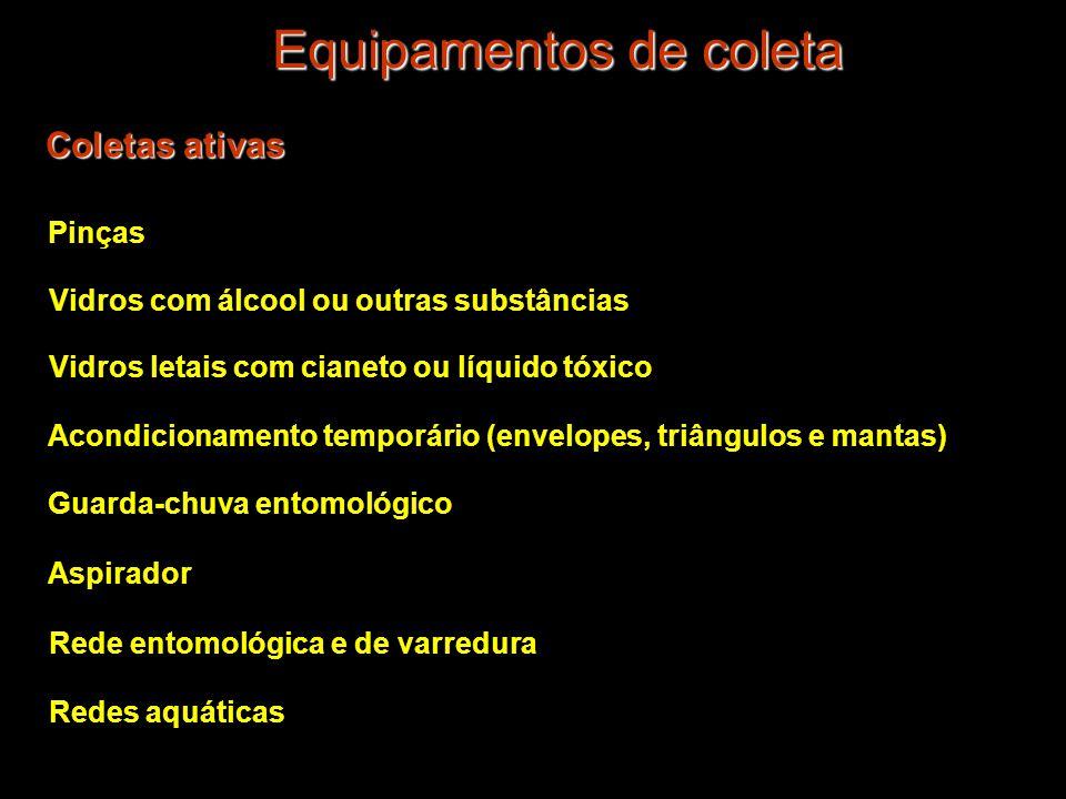 Equipamentos de coleta Coletas ativas Guarda-chuva entomológico Aspirador Pinças Vidros com álcool ou outras substâncias Redes aquáticas Rede entomoló