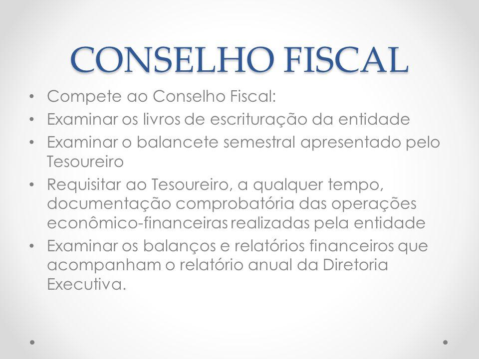 CONSELHO FISCAL Compete ao Conselho Fiscal: Examinar os livros de escrituração da entidade Examinar o balancete semestral apresentado pelo Tesoureiro