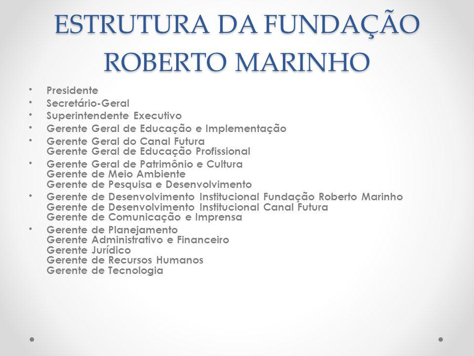 ESTRUTURA DA FUNDAÇÃO ROBERTO MARINHO Presidente Secretário-Geral Superintendente Executivo Gerente Geral de Educação e Implementação Gerente Geral do