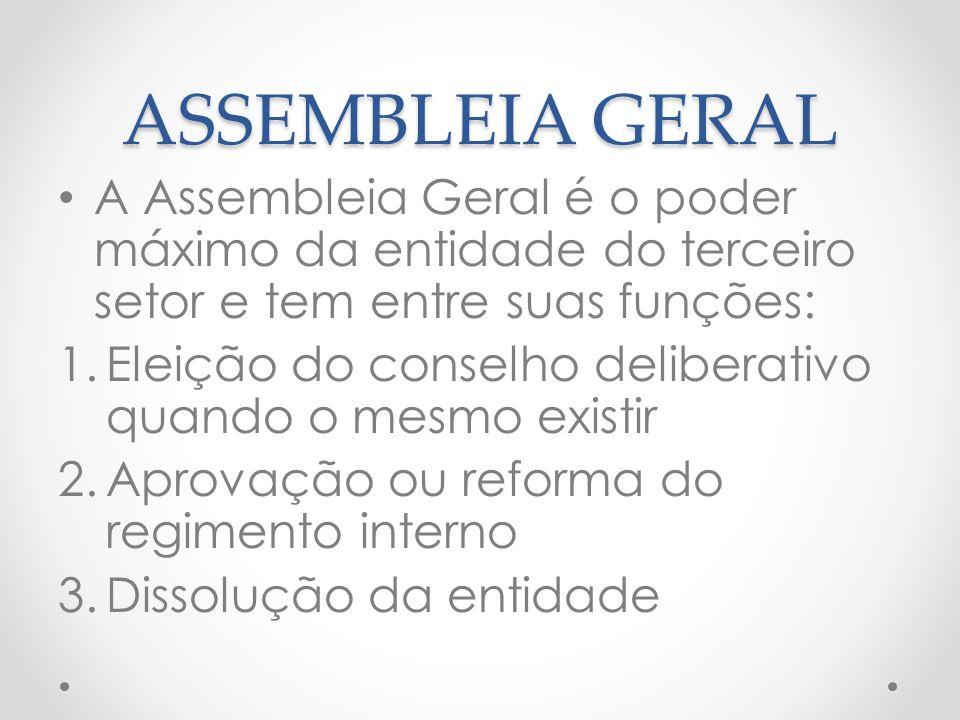 ASSEMBLEIA GERAL A Assembleia Geral é o poder máximo da entidade do terceiro setor e tem entre suas funções: 1.Eleição do conselho deliberativo quando