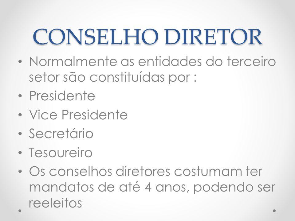 CONSELHO DIRETOR Normalmente as entidades do terceiro setor são constituídas por : Presidente Vice Presidente Secretário Tesoureiro Os conselhos diret