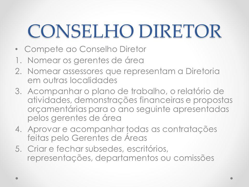 CONSELHO DIRETOR Compete ao Conselho Diretor 1.Nomear os gerentes de área 2.Nomear assessores que representam a Diretoria em outras localidades 3.Acom