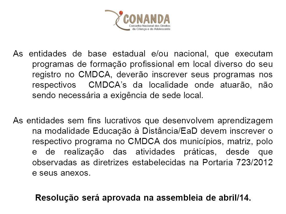 As entidades de base estadual e/ou nacional, que executam programas de formação profissional em local diverso do seu registro no CMDCA, deverão inscre