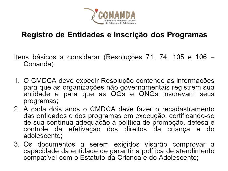 Registro de Entidades e Inscrição dos Programas Itens básicos a considerar (Resoluções 71, 74, 105 e 106 – Conanda) 1.O CMDCA deve expedir Resolução c
