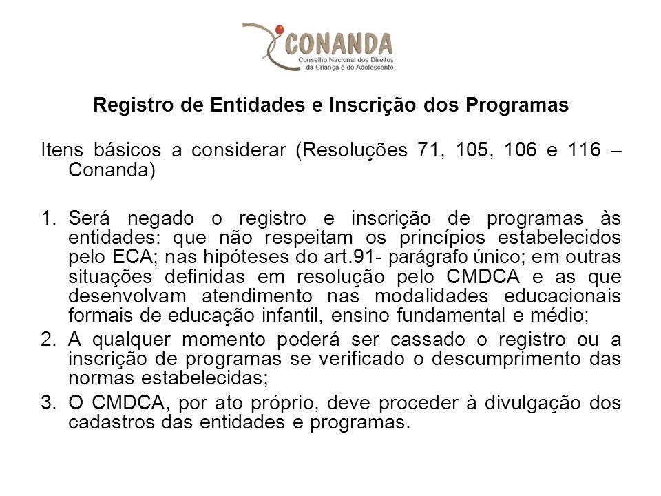 Registro de Entidades e Inscrição dos Programas Itens básicos a considerar (Resoluções 71, 105, 106 e 116 – Conanda) 1.Será negado o registro e inscri
