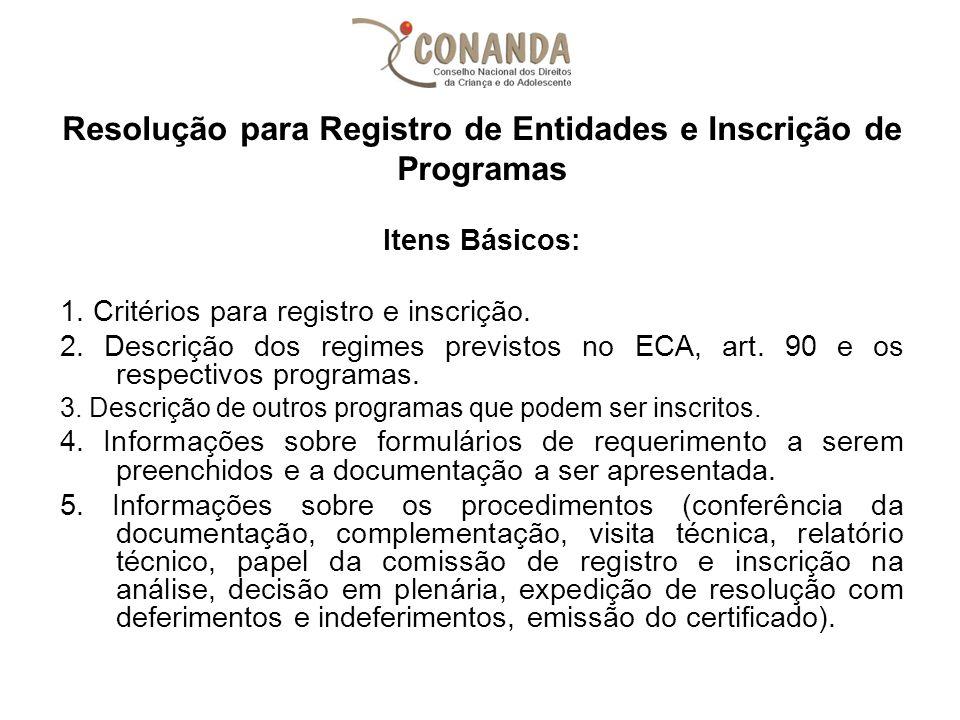 Resolução para Registro de Entidades e Inscrição de Programas Itens Básicos: 1. Critérios para registro e inscrição. 2. Descrição dos regimes previsto