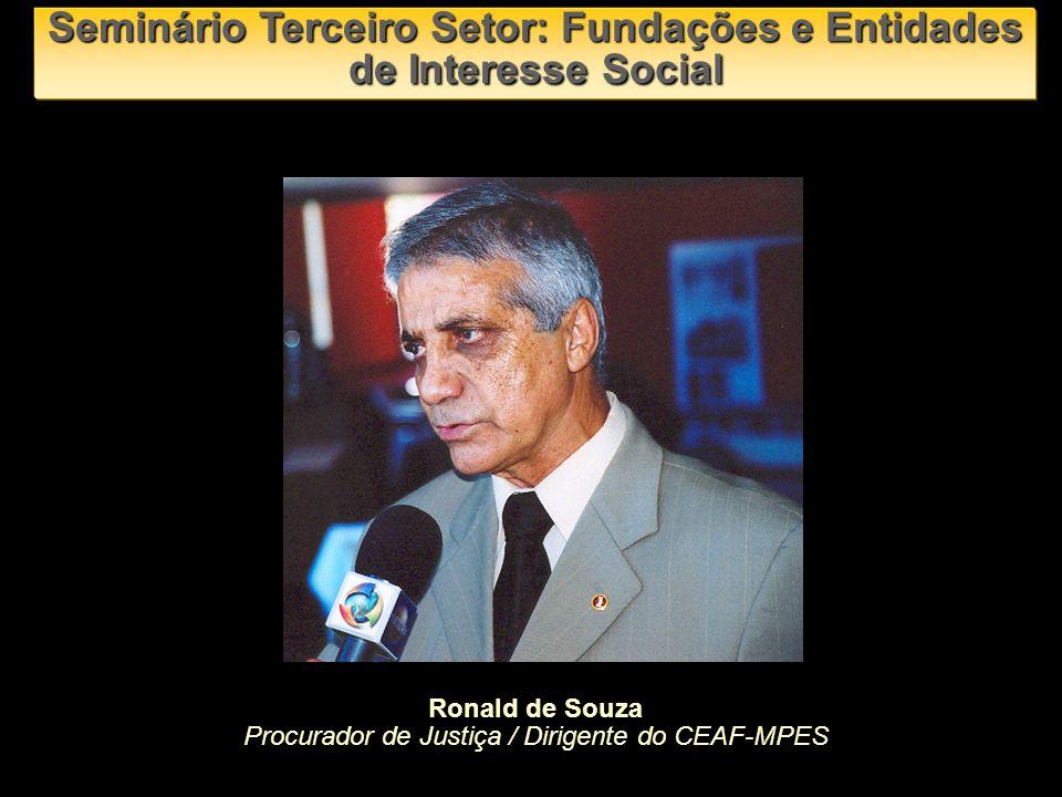 Ronald de Souza Procurador de Justiça / Dirigente do CEAF-MPES Seminário Terceiro Setor: Fundações e Entidades de Interesse Social