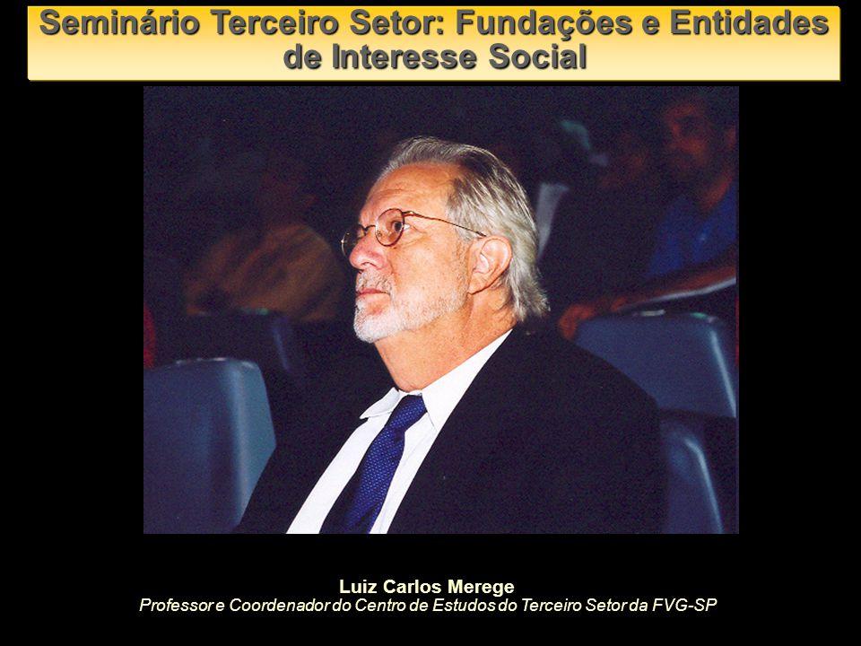 Seminário Terceiro Setor: Fundações e Entidades de Interesse Social Luiz Carlos Merege Professor e Coordenador do Centro de Estudos do Terceiro Setor