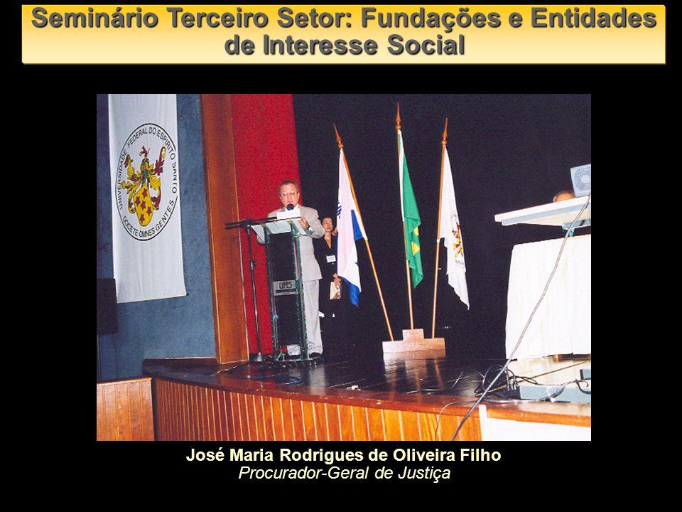 José Maria Rodrigues de Oliveira Filho Procurador-Geral de Justiça Seminário Terceiro Setor: Fundações e Entidades de Interesse Social