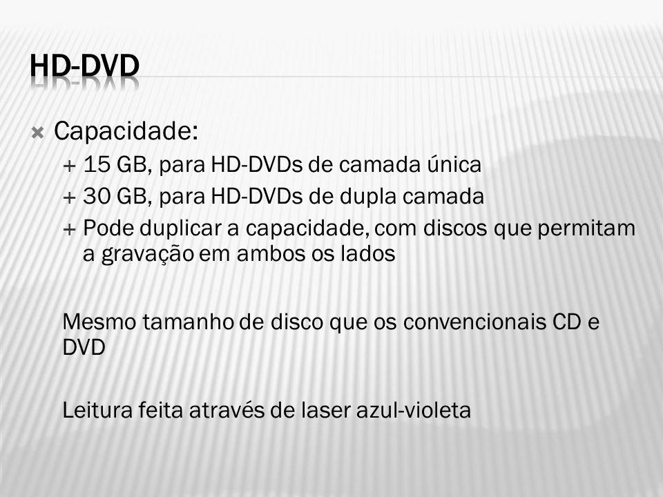  Capacidade:  15 GB, para HD-DVDs de camada única  30 GB, para HD-DVDs de dupla camada  Pode duplicar a capacidade, com discos que permitam a grav