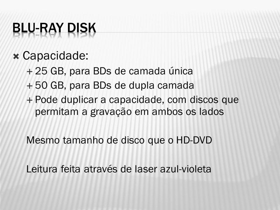  Capacidade:  25 GB, para BDs de camada única  50 GB, para BDs de dupla camada  Pode duplicar a capacidade, com discos que permitam a gravação em