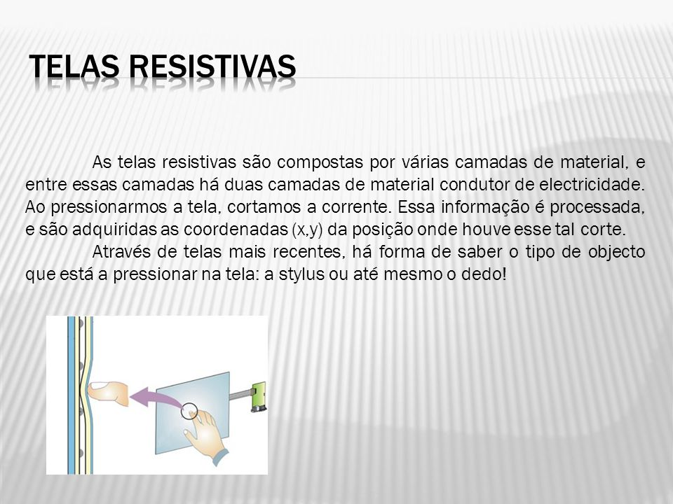 As telas resistivas são compostas por várias camadas de material, e entre essas camadas há duas camadas de material condutor de electricidade. Ao pres