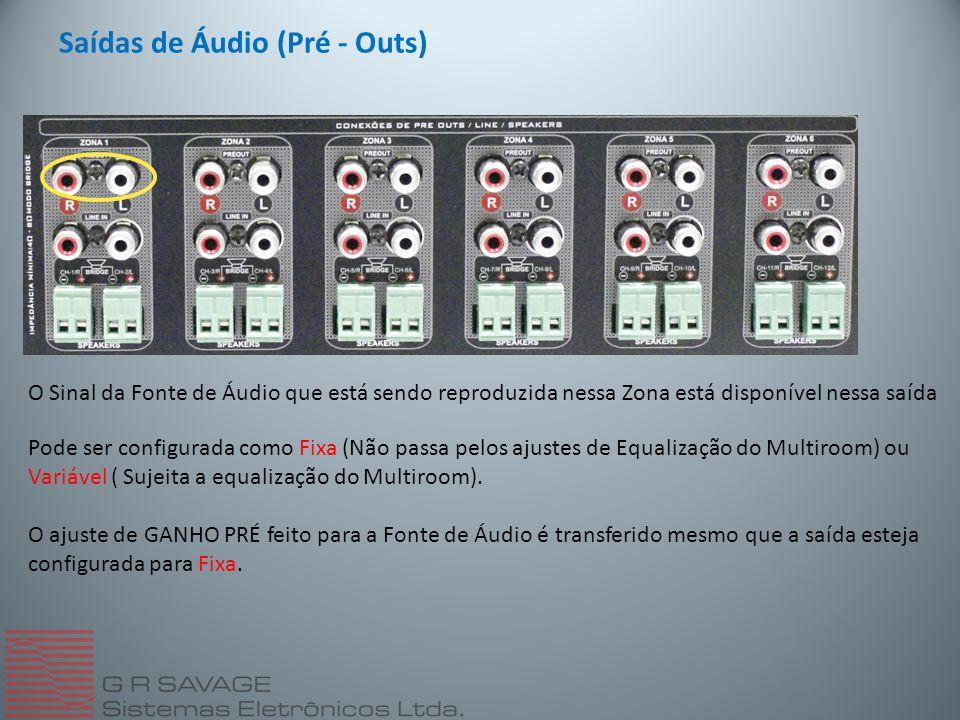 Saídas de Áudio (Pré - Outs) O Sinal da Fonte de Áudio que está sendo reproduzida nessa Zona está disponível nessa saída Pode ser configurada como Fixa (Não passa pelos ajustes de Equalização do Multiroom) ou Variável ( Sujeita a equalização do Multiroom).