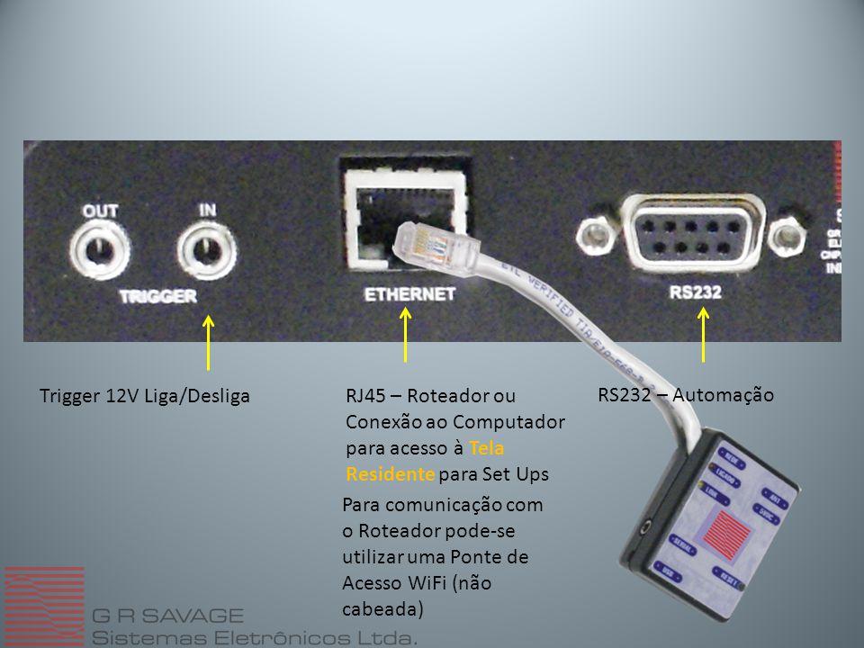 Trigger 12V Liga/DesligaRJ45 – Roteador ou Conexão ao Computador para acesso à Tela Residente para Set Ups Para comunicação com o Roteador pode-se utilizar uma Ponte de Acesso WiFi (não cabeada) RS232 – Automação