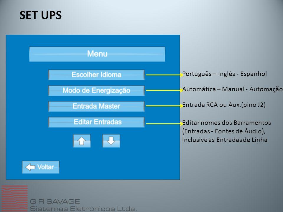 SET UPS Português – Inglês - Espanhol Automática – Manual - Automação Entrada RCA ou Aux.(pino J2) Editar nomes dos Barramentos (Entradas - Fontes de