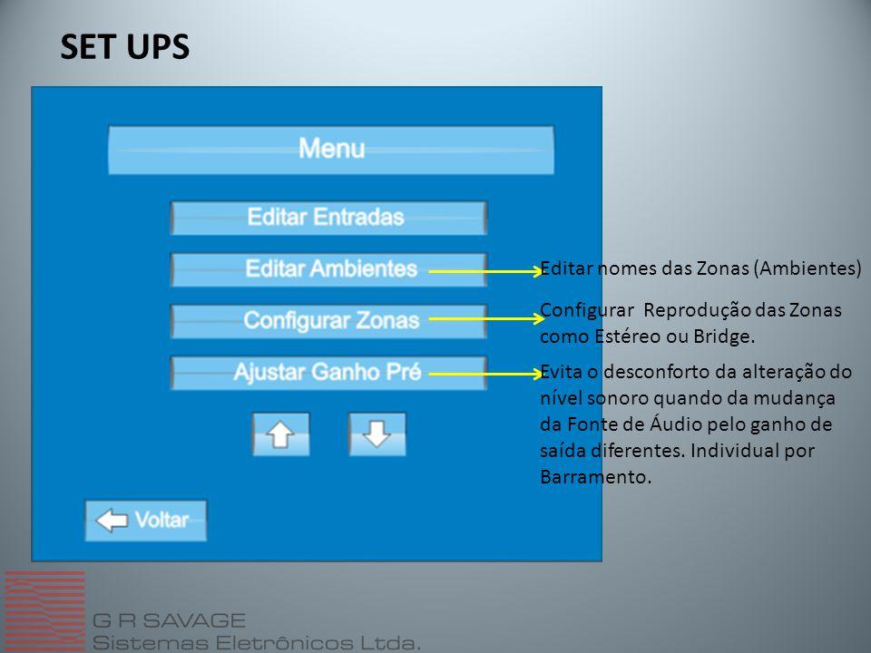 Editar nomes das Zonas (Ambientes) Configurar Reprodução das Zonas como Estéreo ou Bridge.