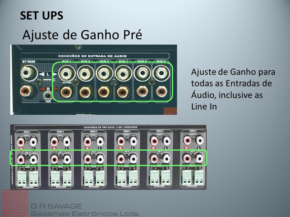 Ajuste de Ganho Pré SET UPS Ajuste de Ganho para todas as Entradas de Áudio, inclusive as Line In