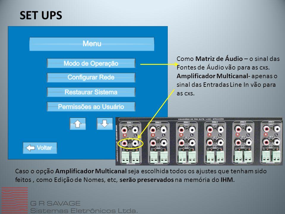 SET UPS Como Matriz de Áudio – o sinal das Fontes de Áudio vão para as cxs. Amplificador Multicanal- apenas o sinal das Entradas Line In vão para as c