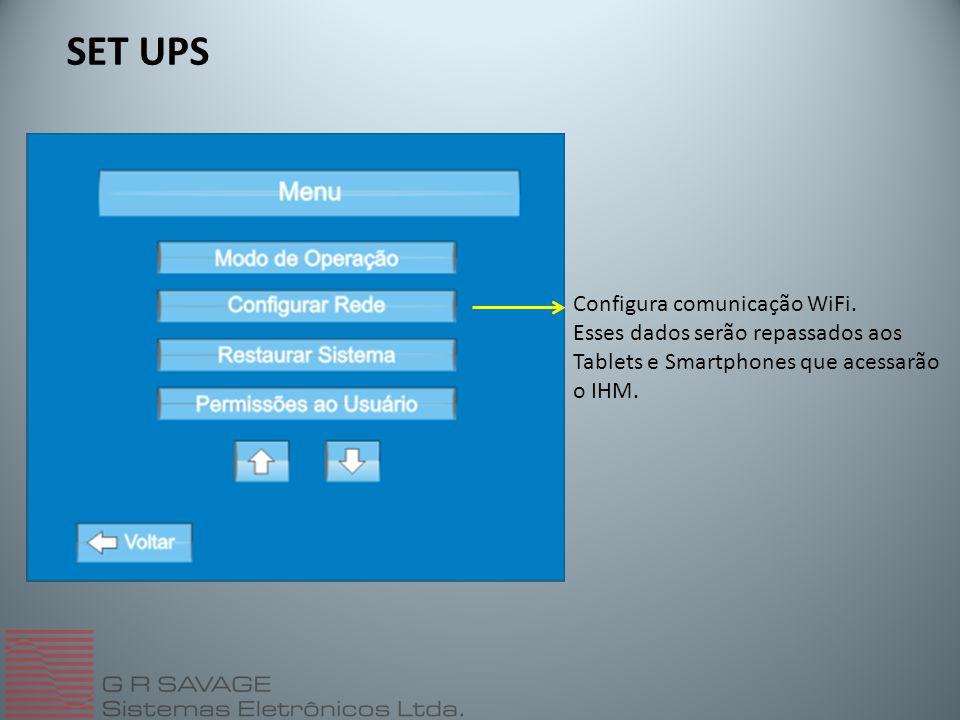 SET UPS Configura comunicação WiFi. Esses dados serão repassados aos Tablets e Smartphones que acessarão o IHM.
