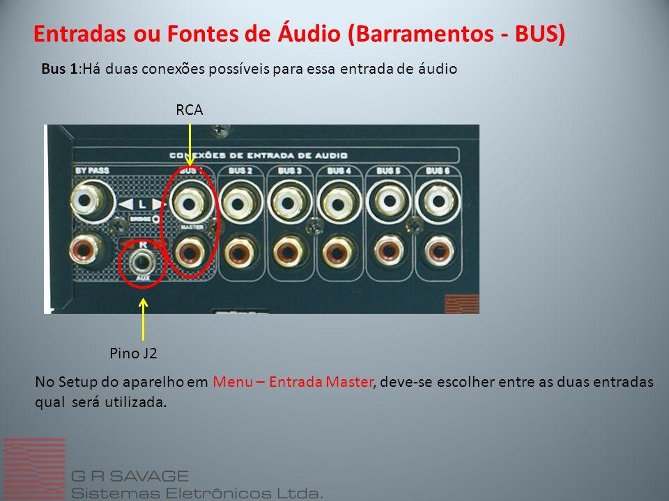 Bus 1:Há duas conexões possíveis para essa entrada de áudio Entradas ou Fontes de Áudio (Barramentos - BUS) RCA Pino J2 No Setup do aparelho em Menu – Entrada Master, deve-se escolher entre as duas entradas qual será utilizada.