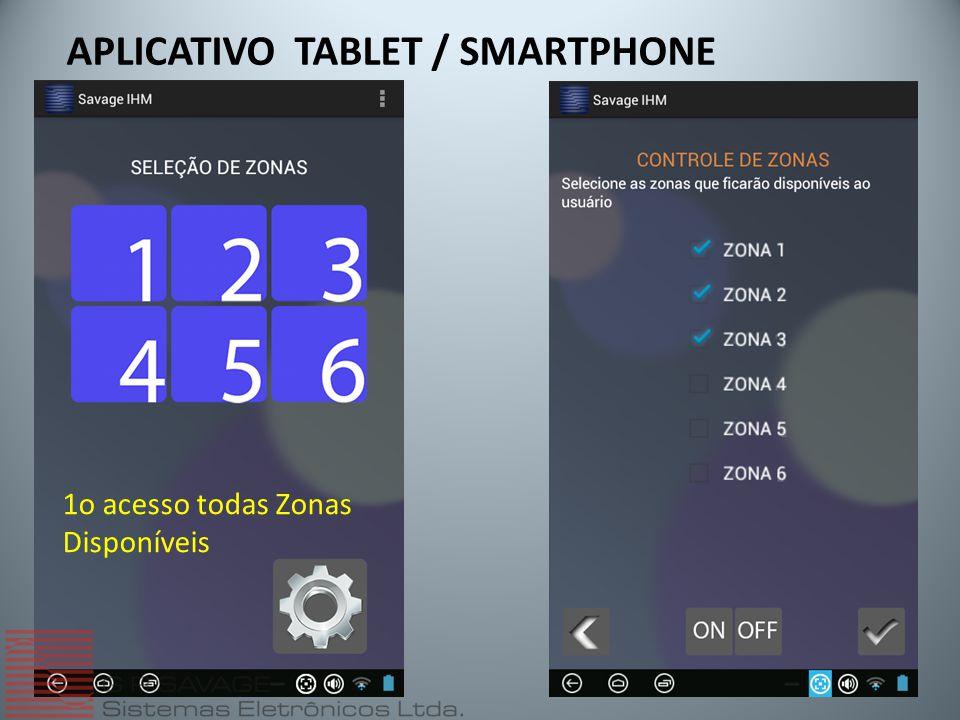 APLICATIVO TABLET / SMARTPHONE 1o acesso todas Zonas Disponíveis