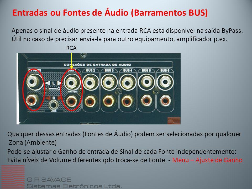 RCA Apenas o sinal de áudio presente na entrada RCA está disponível na saída ByPass.