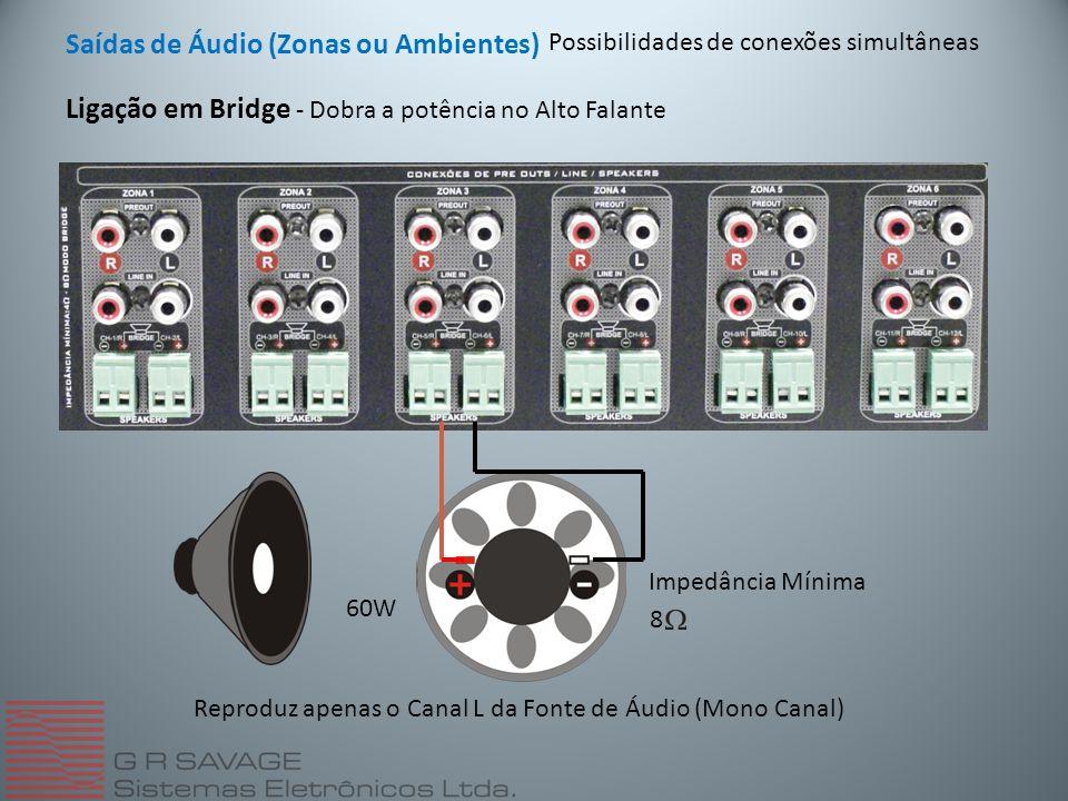 Saídas de Áudio (Zonas ou Ambientes) Possibilidades de conexões simultâneas 60W 8 Impedância Mínima Reproduz apenas o Canal L da Fonte de Áudio (Mono Canal) Ligação em Bridge - Dobra a potência no Alto Falante