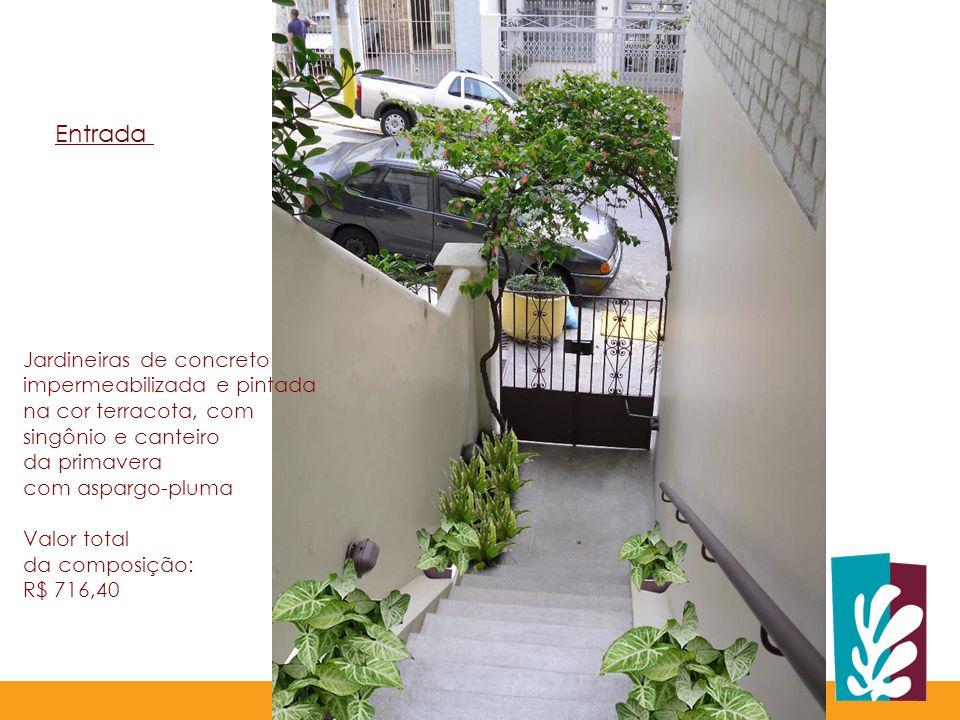 Jardineiras de concreto impermeabilizada e pintada na cor terracota, com singônio e canteiro da primavera com aspargo-pluma Valor total da composição: R$ 716,40 Entrada