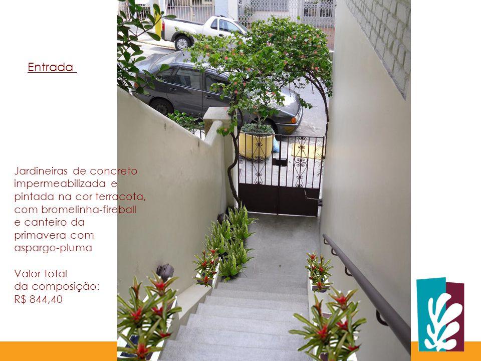 Jardineiras de concreto impermeabilizada e pintada na cor terracota, com bromelinha-fireball e canteiro da primavera com aspargo-pluma Valor total da composição: R$ 844,40 Entrada