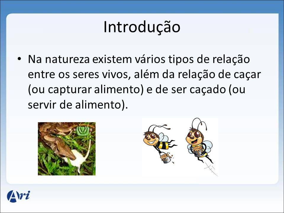 Introdução Na natureza existem vários tipos de relação entre os seres vivos, além da relação de caçar (ou capturar alimento) e de ser caçado (ou servir de alimento).