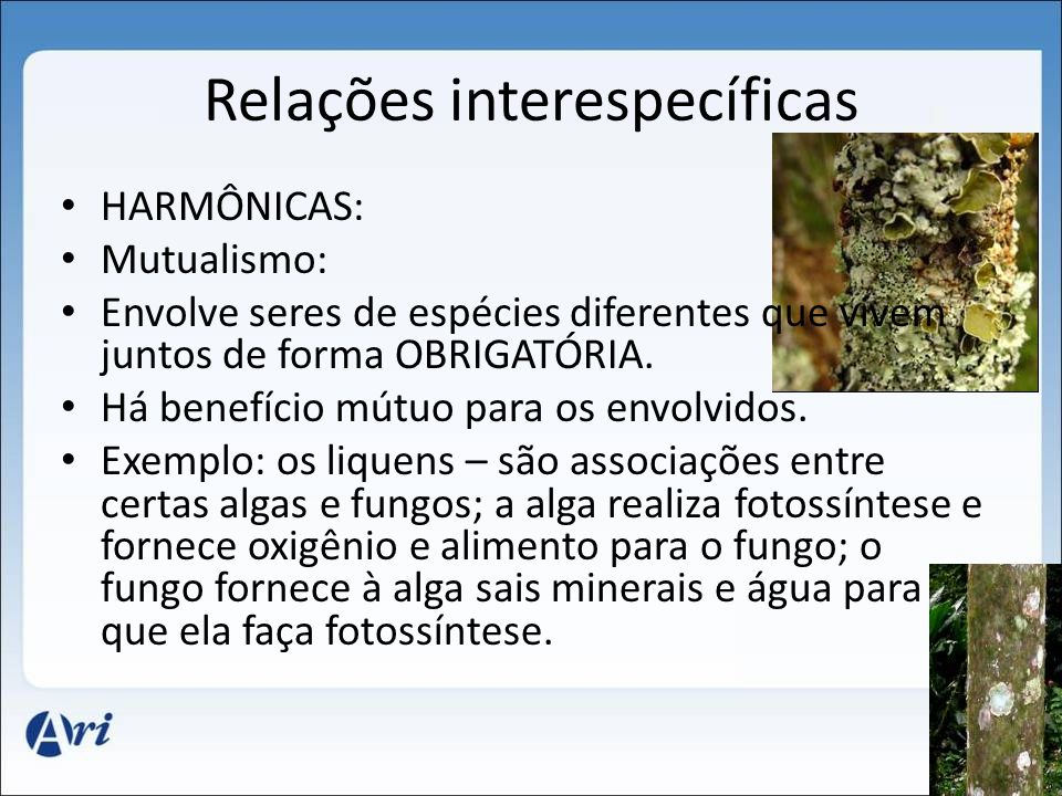 Relações interespecíficas HARMÔNICAS: Mutualismo: Envolve seres de espécies diferentes que vivem juntos de forma OBRIGATÓRIA.