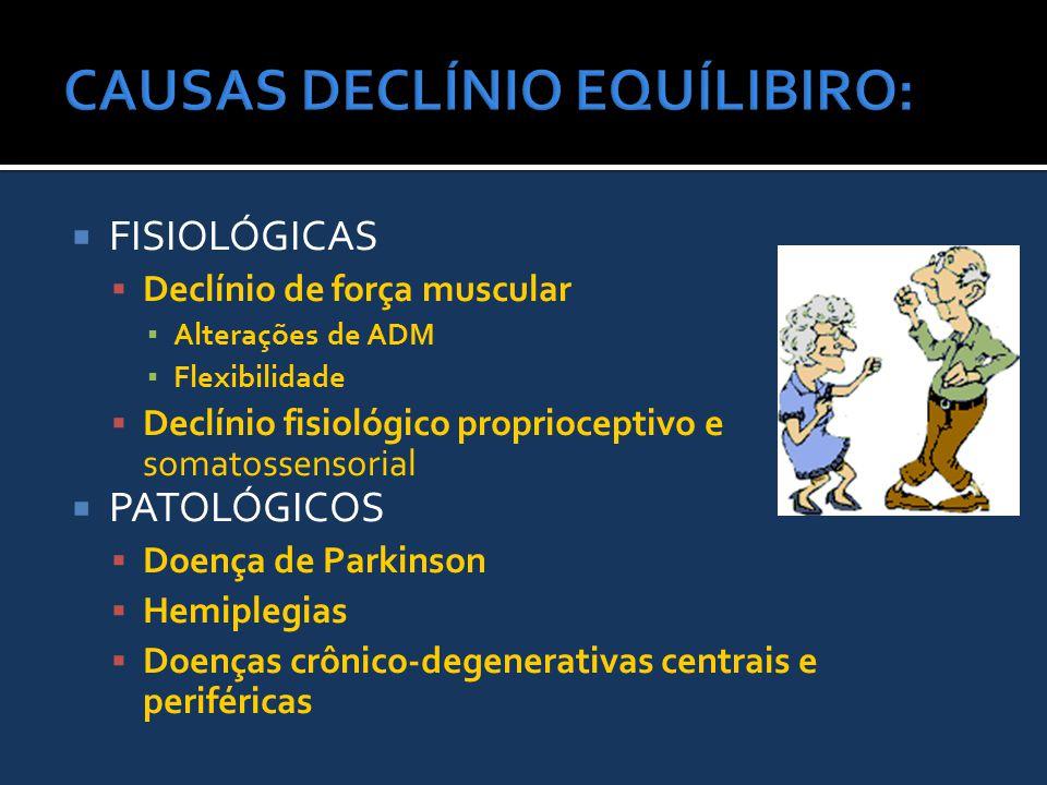  FISIOLÓGICAS  Declínio de força muscular ▪ Alterações de ADM ▪ Flexibilidade  Declínio fisiológico proprioceptivo e somatossensorial  PATOLÓGICOS